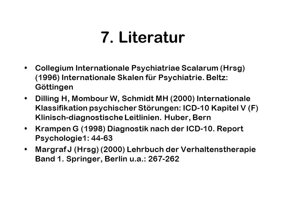 7. LiteraturCollegium Internationale Psychiatriae Scalarum (Hrsg) (1996) Internationale Skalen für Psychiatrie. Beltz: Göttingen.