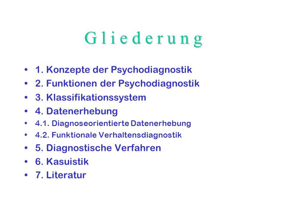 G l i e d e r u n g 1. Konzepte der Psychodiagnostik