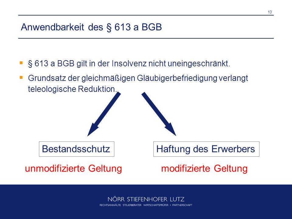 Anwendbarkeit des § 613 a BGB