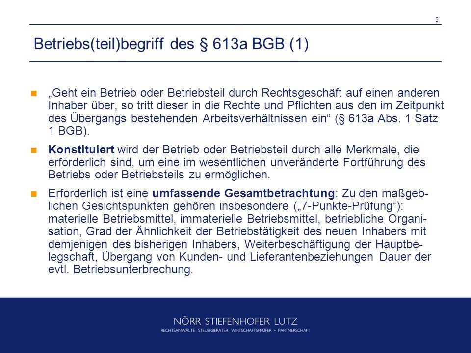 Betriebs(teil)begriff des § 613a BGB (1)