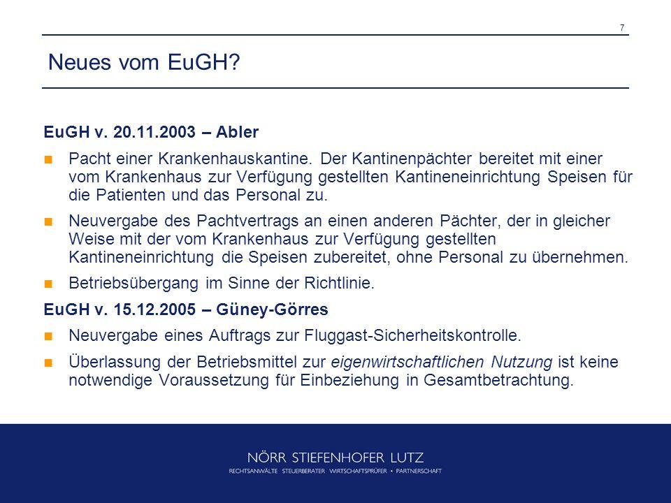 Neues vom EuGH EuGH v. 20.11.2003 – Abler