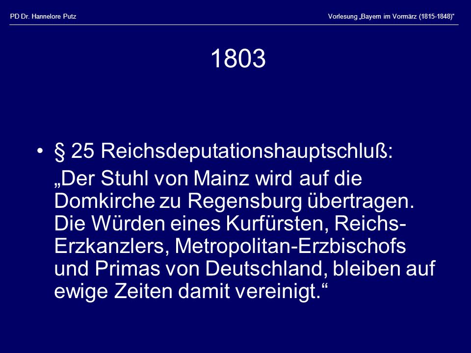 1803 § 25 Reichsdeputationshauptschluß: