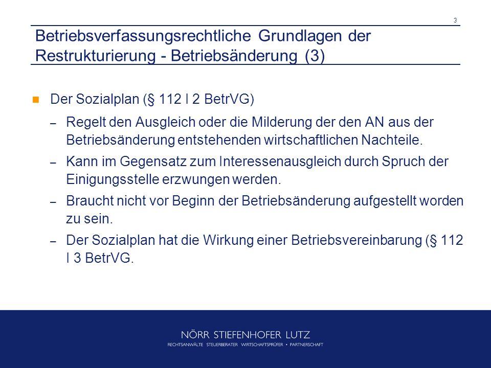 Betriebsverfassungsrechtliche Grundlagen der Restrukturierung - Betriebsänderung (3)