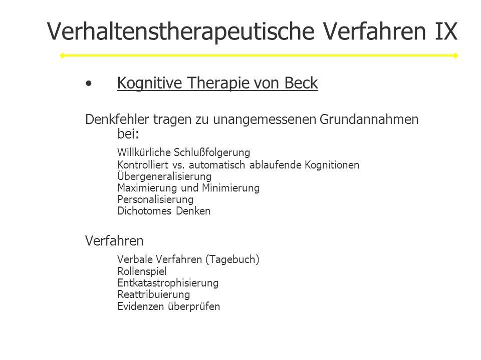 Verhaltenstherapeutische Verfahren IX
