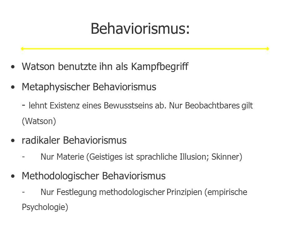 Behaviorismus: Watson benutzte ihn als Kampfbegriff