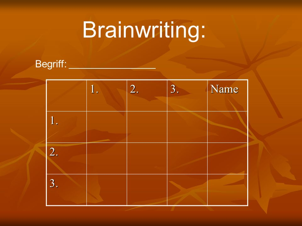 Brainwriting: Begriff: _____________________ 1. 2. 3. Name