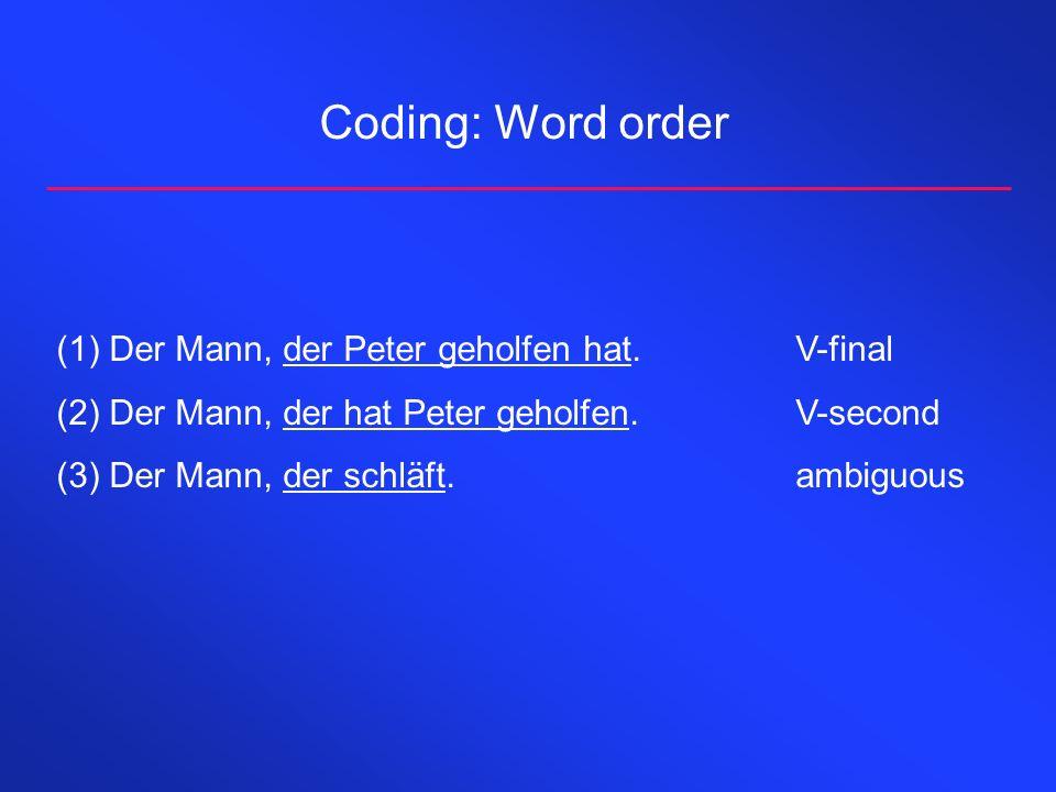 Coding: Word order Der Mann, der Peter geholfen hat. V-final
