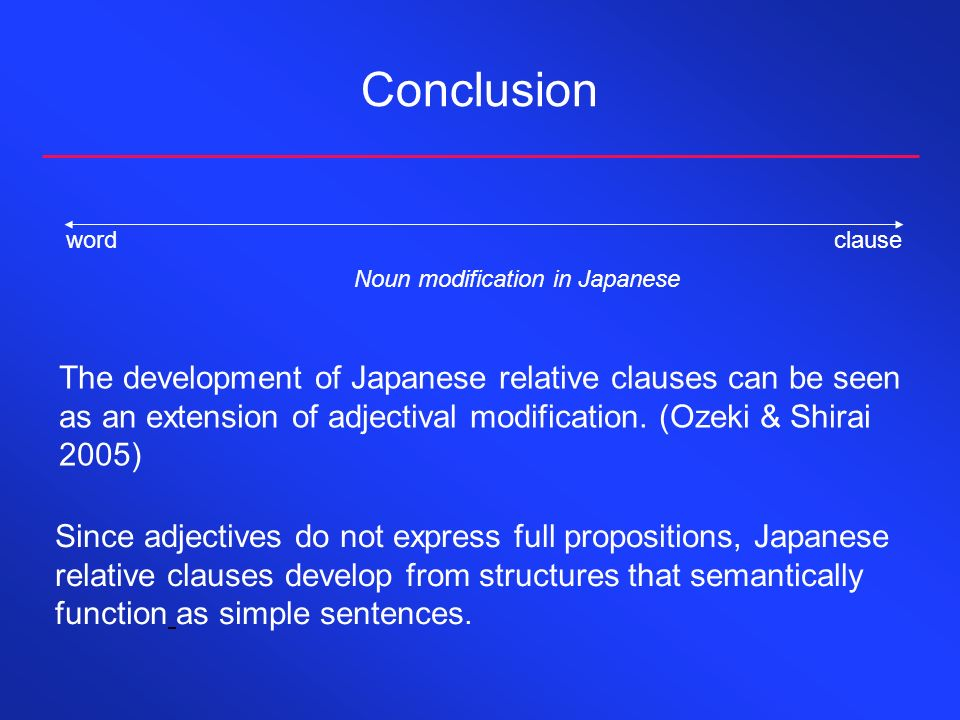 Conclusionword clause. Noun modification in Japanese.