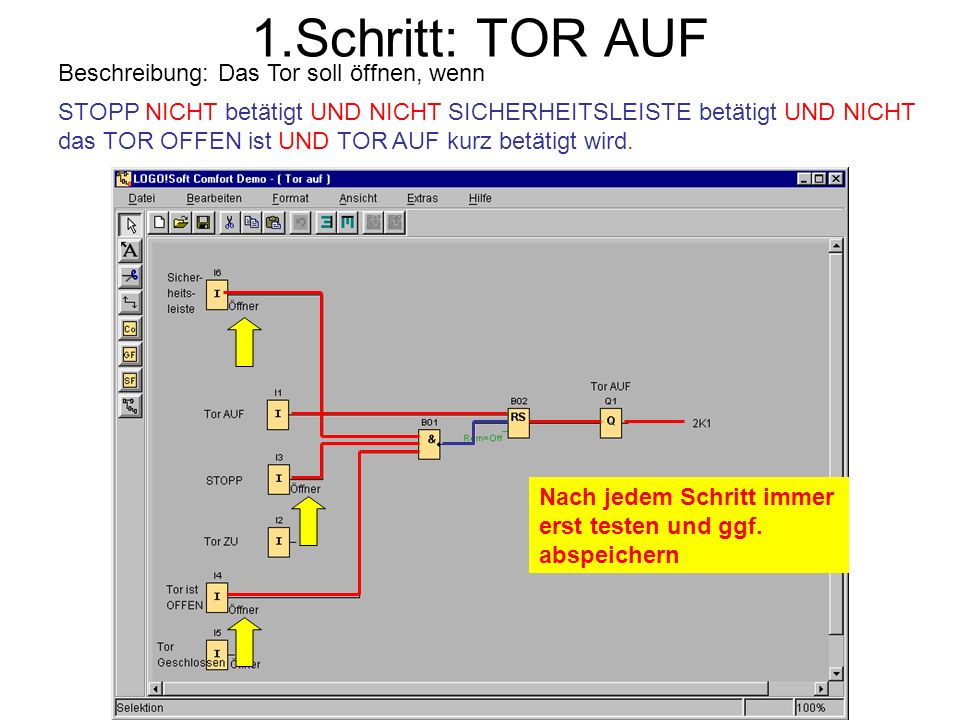 1.Schritt: TOR AUF Beschreibung: Das Tor soll öffnen, wenn