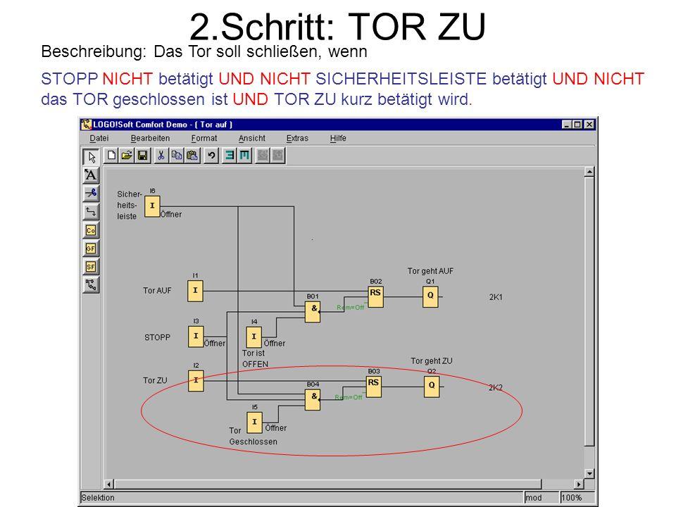 2.Schritt: TOR ZU Beschreibung: Das Tor soll schließen, wenn