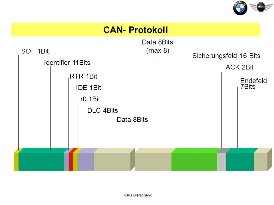 CAN- Protokoll Data 8Bits (max 8) SOF 1Bit Sicherungsfeld 16 Bits