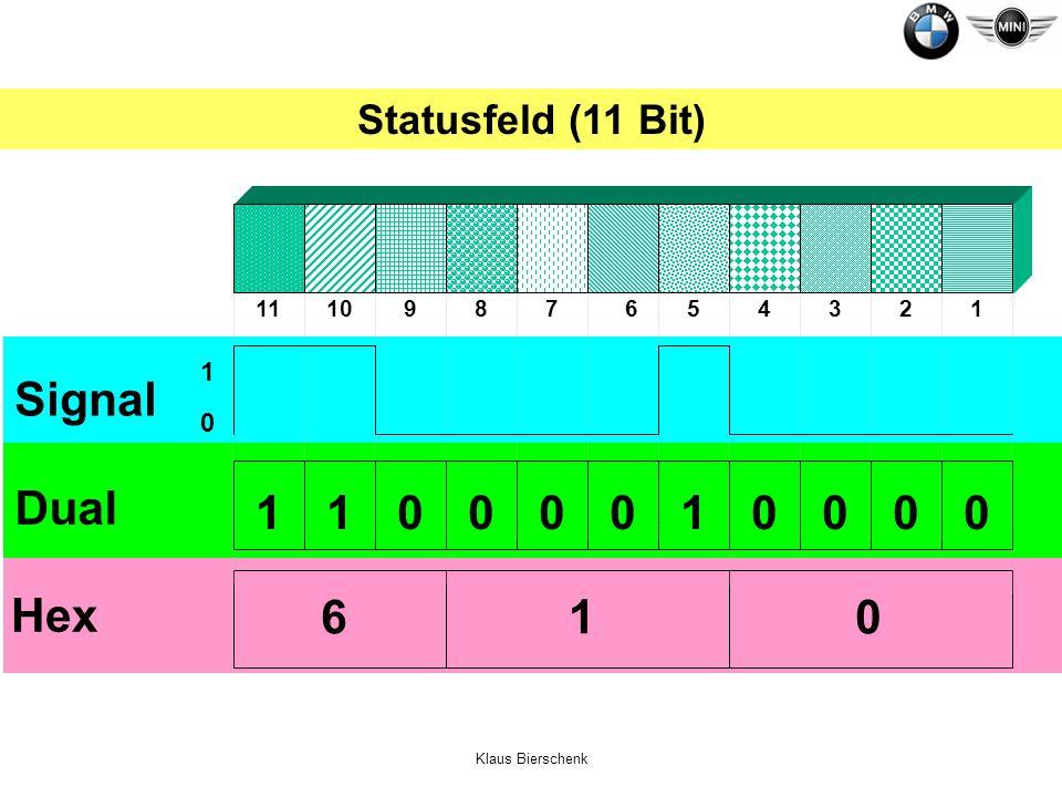 Signal Dual 1 1 1 Hex 6 1 Statusfeld (11 Bit) 1 11 10 9 8 7 6 5 4 3 2