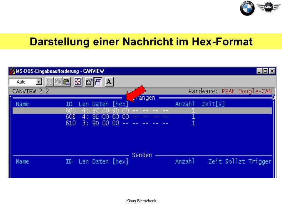 Darstellung einer Nachricht im Hex-Format