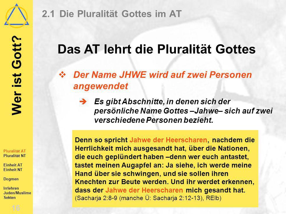 2.1 Die Pluralität Gottes im AT