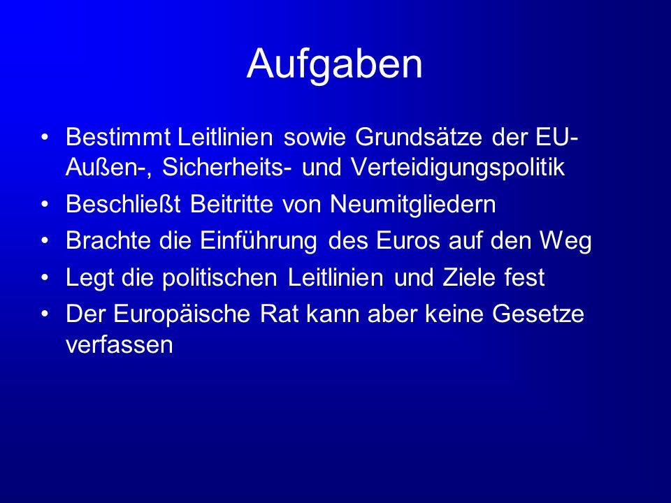 Aufgaben Bestimmt Leitlinien sowie Grundsätze der EU- Außen-, Sicherheits- und Verteidigungspolitik.
