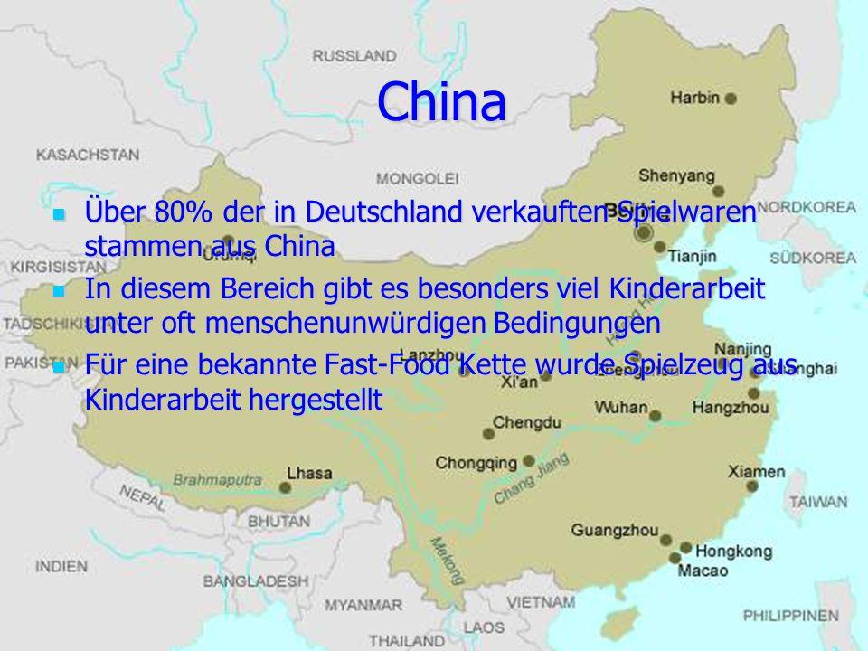 China Über 80% der in Deutschland verkauften Spielwaren stammen aus China.