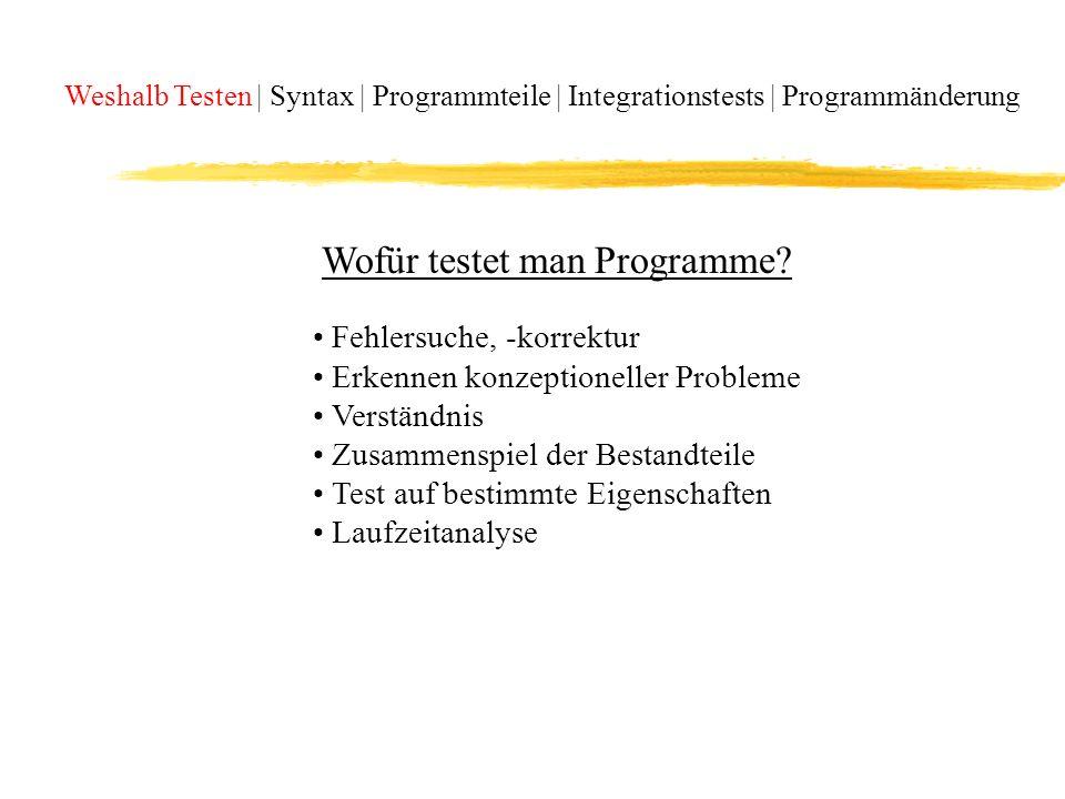 Wofür testet man Programme