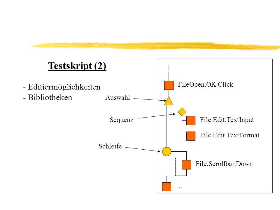 Testskript (2) Editiermöglichkeiten Bibliotheken FileOpen.OK.Click
