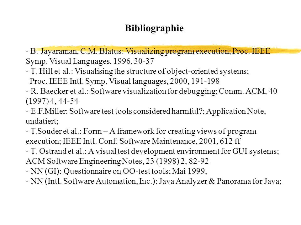 Bibliographie - B. Jayaraman, C.M. Blatus: Visualizing program execution; Proc. IEEE Symp. Visual Languages, 1996, 30-37.