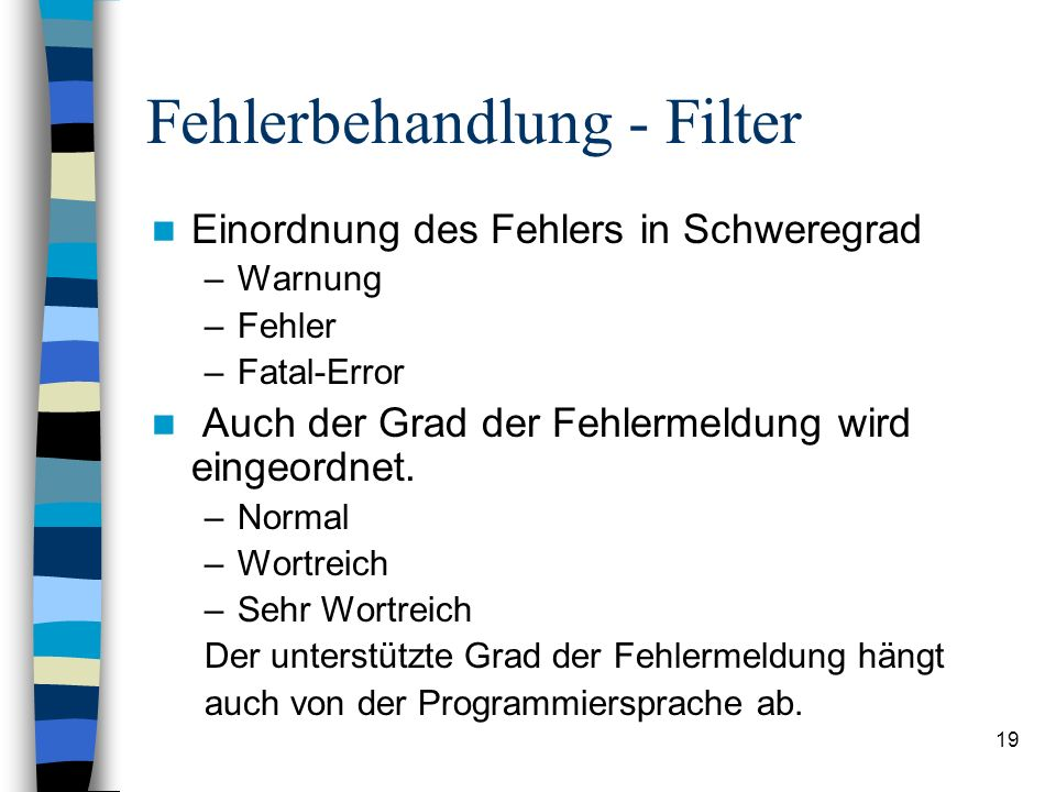 Fehlerbehandlung - Filter