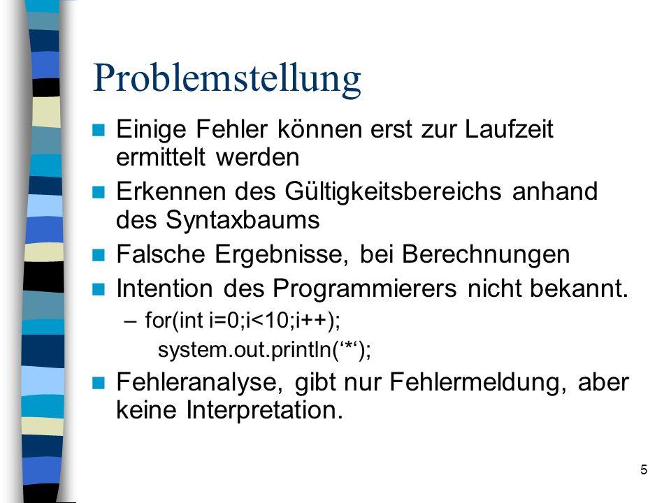 Problemstellung Einige Fehler können erst zur Laufzeit ermittelt werden. Erkennen des Gültigkeitsbereichs anhand des Syntaxbaums.