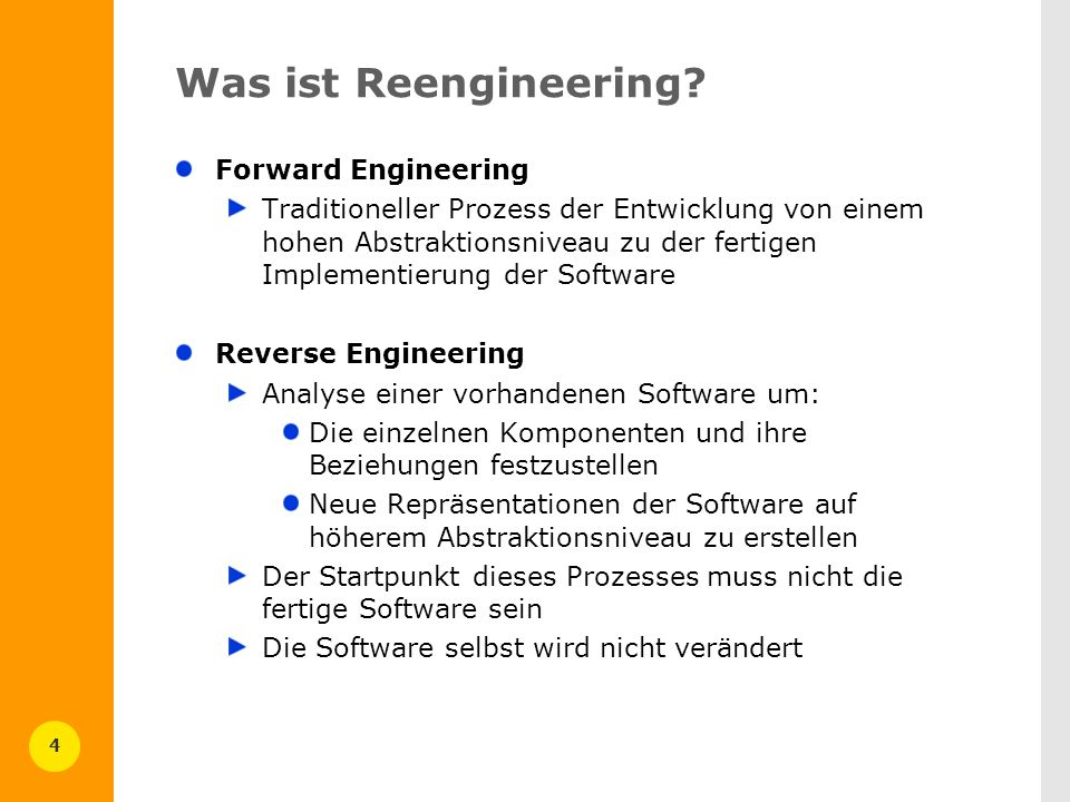 Was ist Reengineering Forward Engineering