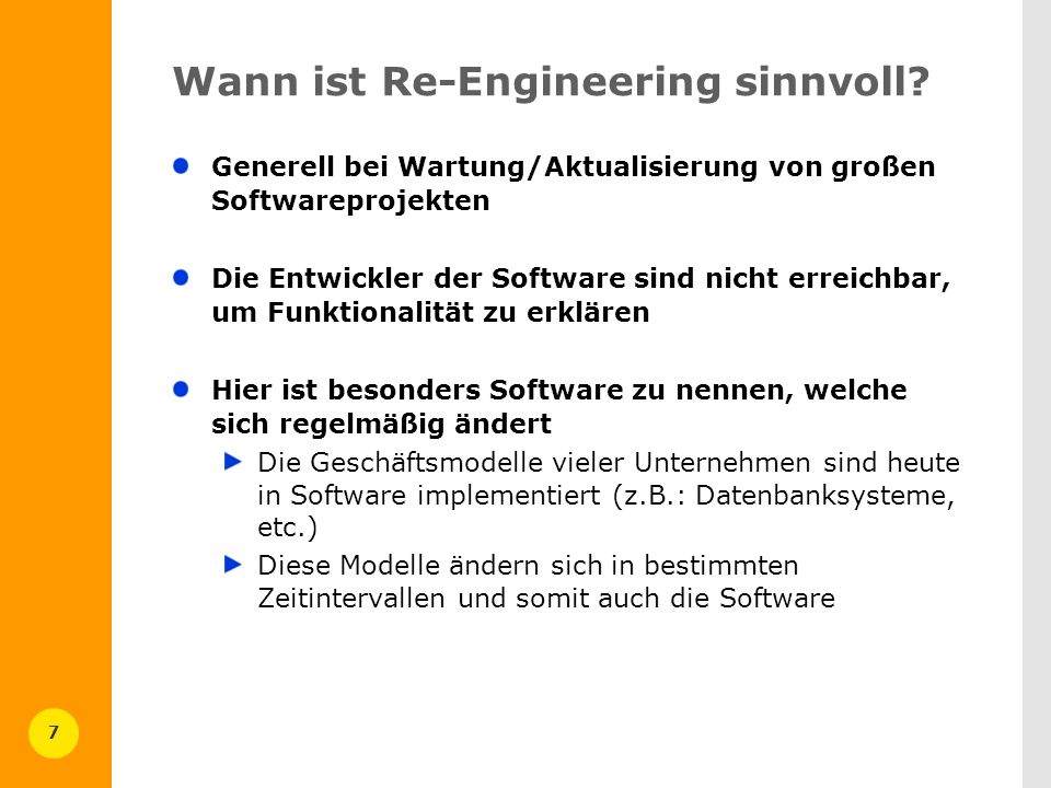 Wann ist Re-Engineering sinnvoll