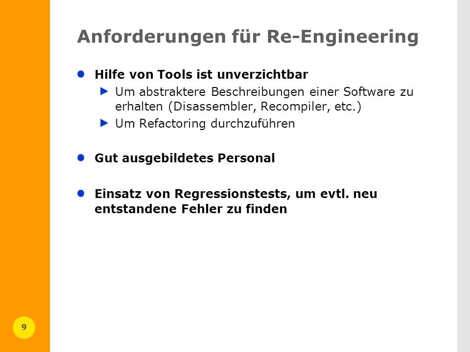Anforderungen für Re-Engineering