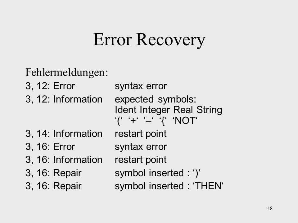 Error Recovery Fehlermeldungen: 3, 12: Error syntax error
