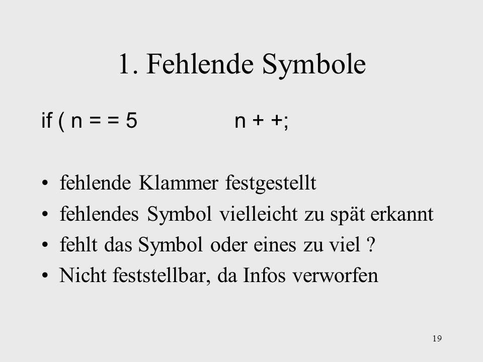 1. Fehlende Symbole if ( n = = 5 n + +; fehlende Klammer festgestellt