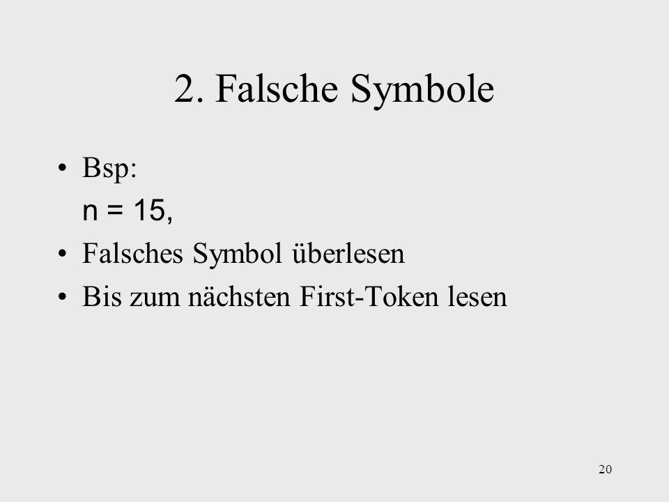2. Falsche Symbole Bsp: n = 15, Falsches Symbol überlesen