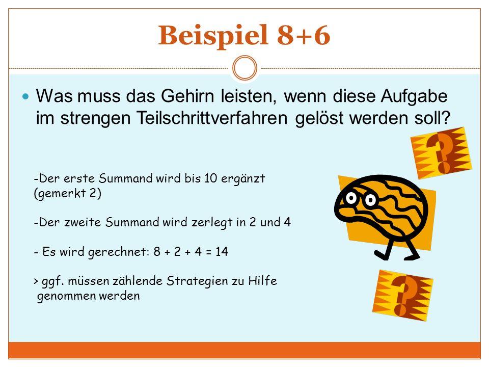 Beispiel 8+6 Was muss das Gehirn leisten, wenn diese Aufgabe im strengen Teilschrittverfahren gelöst werden soll