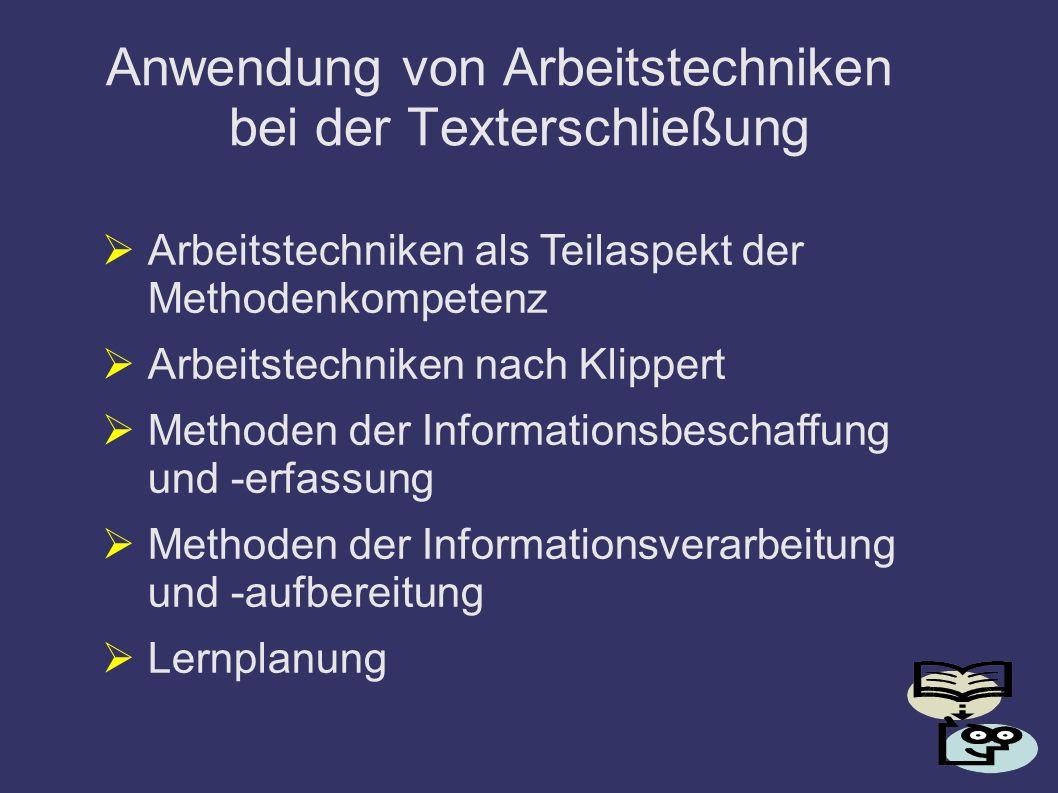 Anwendung von Arbeitstechniken bei der Texterschließung