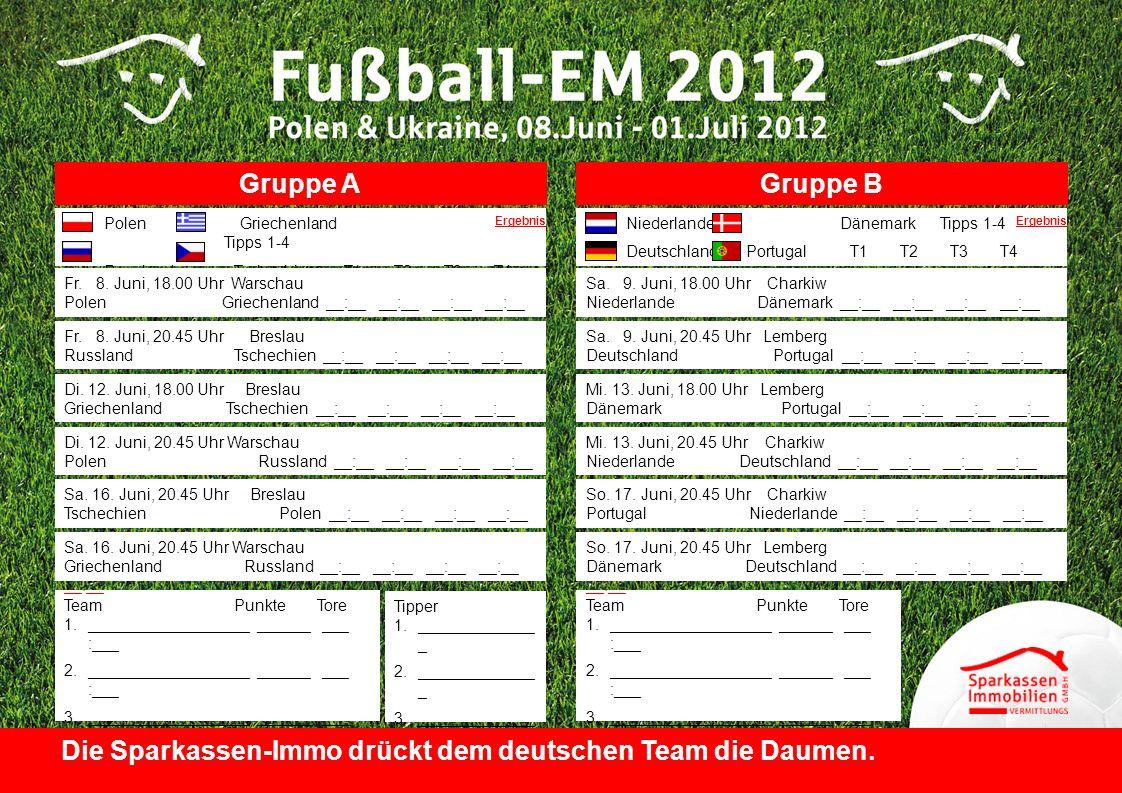 Die Sparkassen-Immo drückt dem deutschen Team die Daumen.