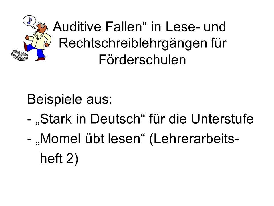 """""""Auditive Fallen in Lese- und Rechtschreiblehrgängen für Förderschulen"""