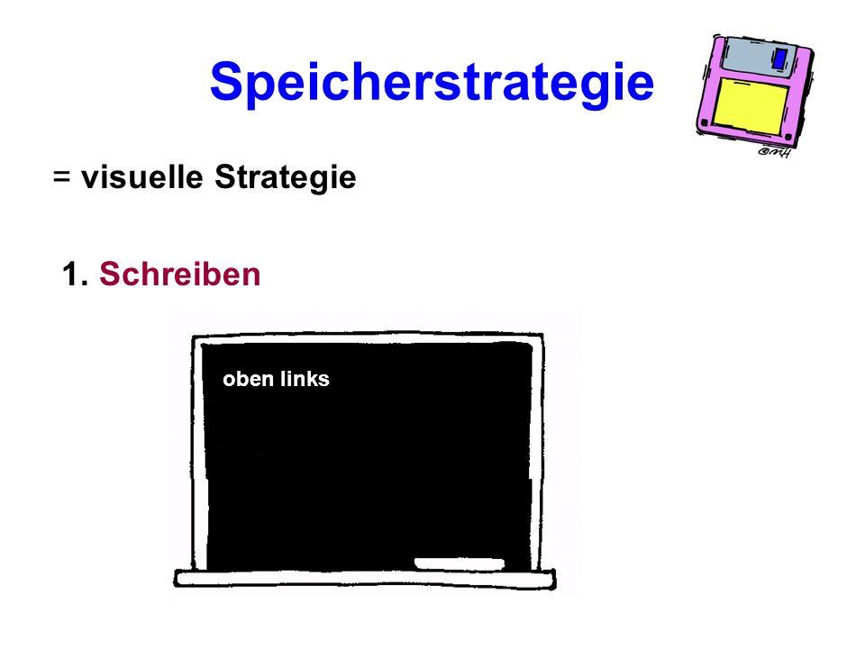 Speicherstrategie = visuelle Strategie 1. Schreiben oben links