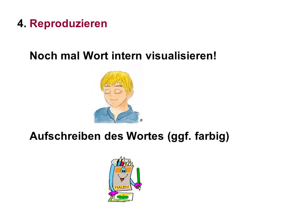 4. Reproduzieren Noch mal Wort intern visualisieren! Aufschreiben des Wortes (ggf. farbig)