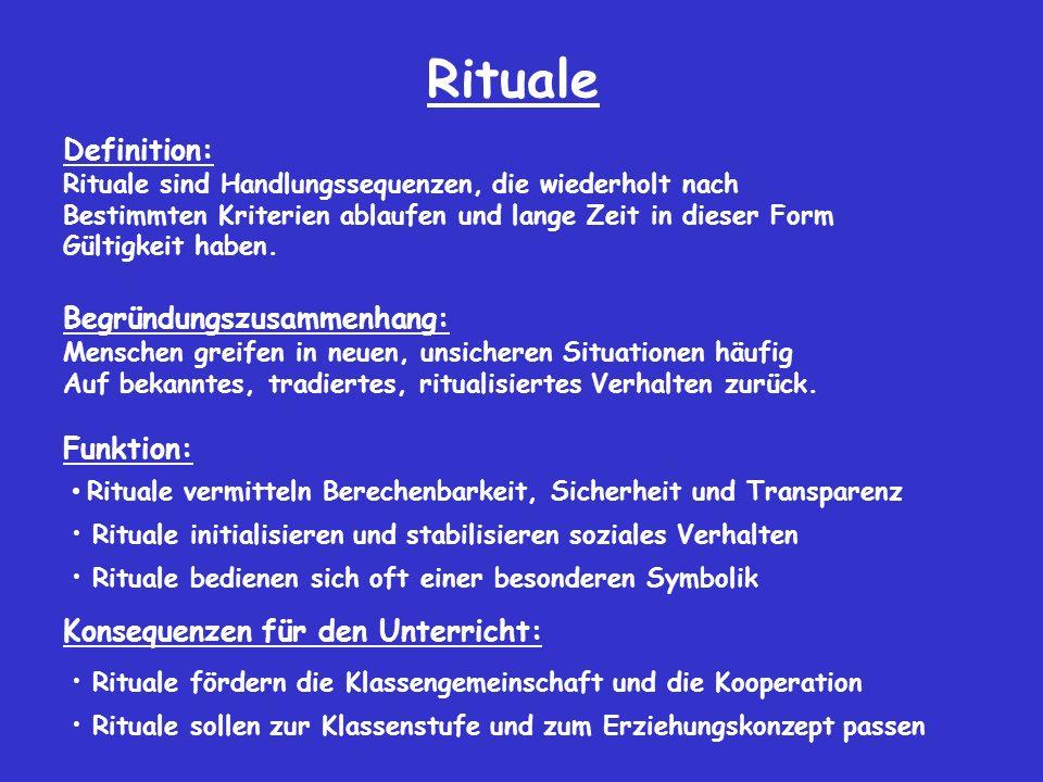 Rituale Definition: Begründungszusammenhang: Funktion: