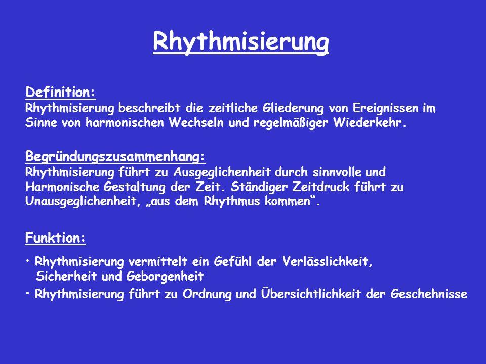 Rhythmisierung Definition: Begründungszusammenhang: Funktion: