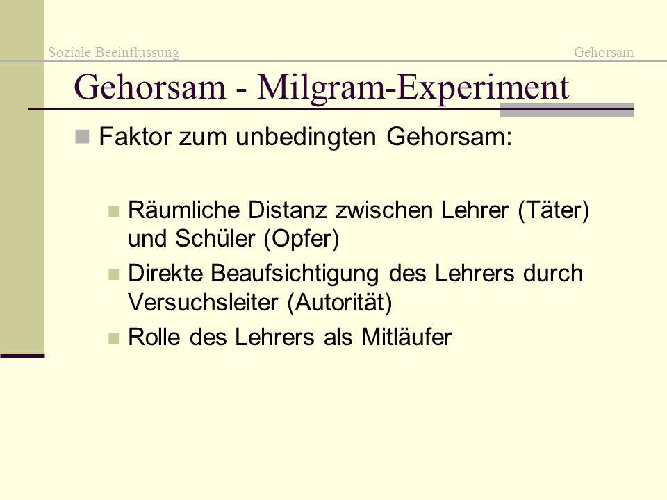 Gehorsam - Milgram-Experiment