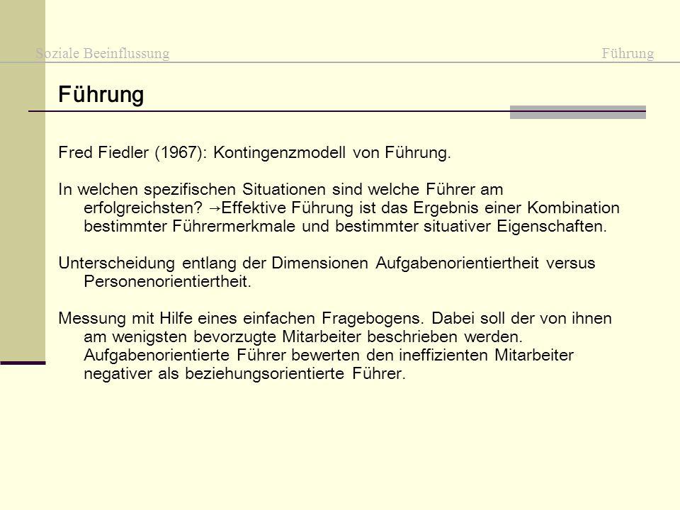 Führung Fred Fiedler (1967): Kontingenzmodell von Führung.