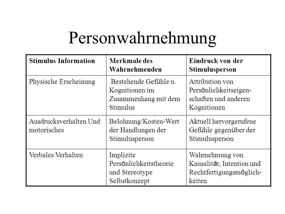 Personwahrnehmung Stimulus Information Merkmale des Wahrnehmenden