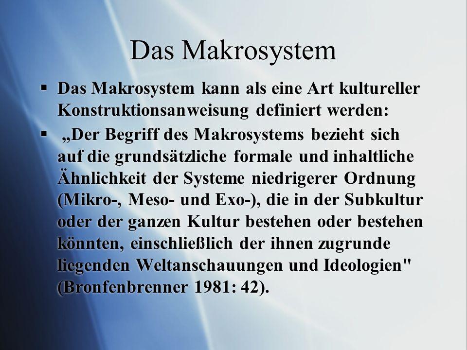 Das Makrosystem Das Makrosystem kann als eine Art kultureller Konstruktionsanweisung definiert werden: