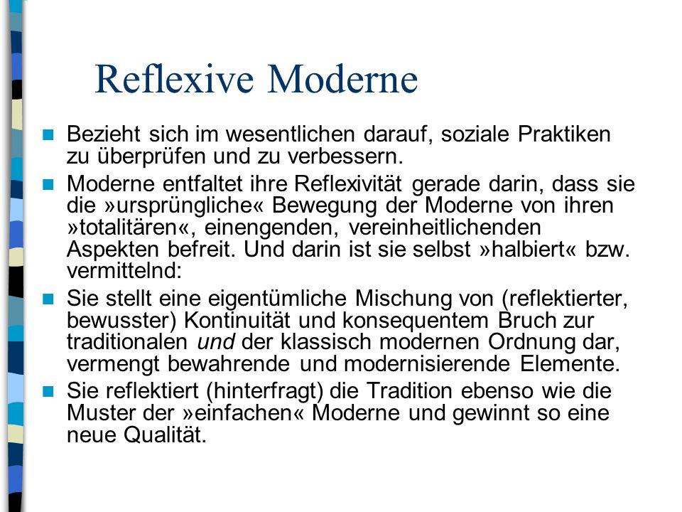 Reflexive Moderne Bezieht sich im wesentlichen darauf, soziale Praktiken zu überprüfen und zu verbessern.