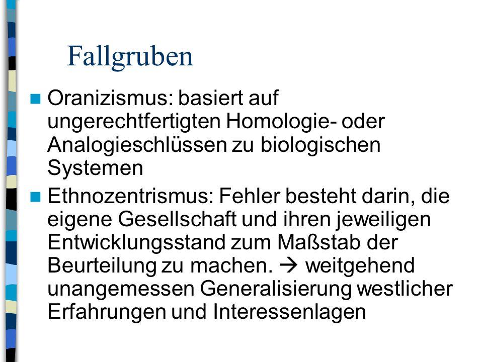 Fallgruben Oranizismus: basiert auf ungerechtfertigten Homologie- oder Analogieschlüssen zu biologischen Systemen.