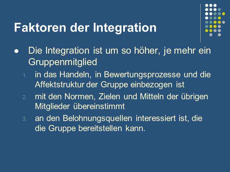 Faktoren der Integration