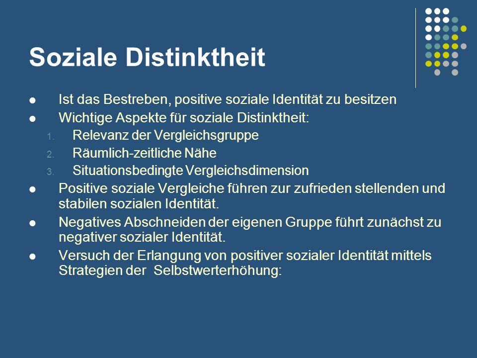 Soziale Distinktheit Ist das Bestreben, positive soziale Identität zu besitzen. Wichtige Aspekte für soziale Distinktheit: