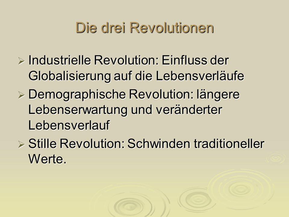 Die drei Revolutionen Industrielle Revolution: Einfluss der Globalisierung auf die Lebensverläufe.