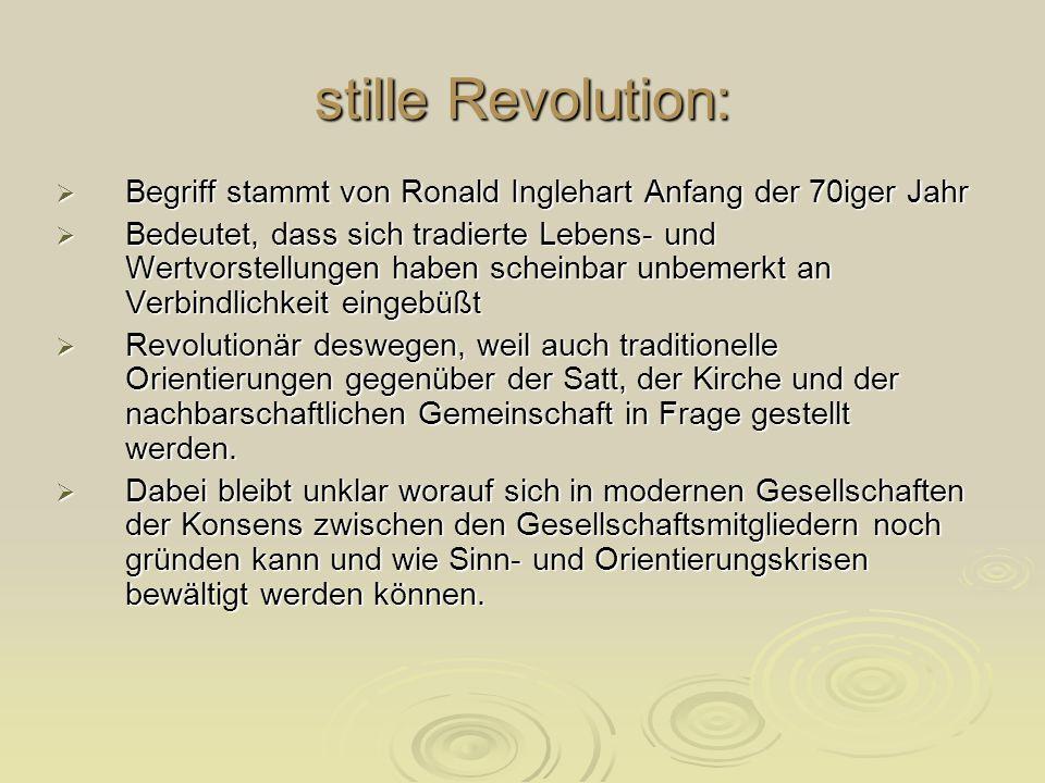stille Revolution:Begriff stammt von Ronald Inglehart Anfang der 70iger Jahr.