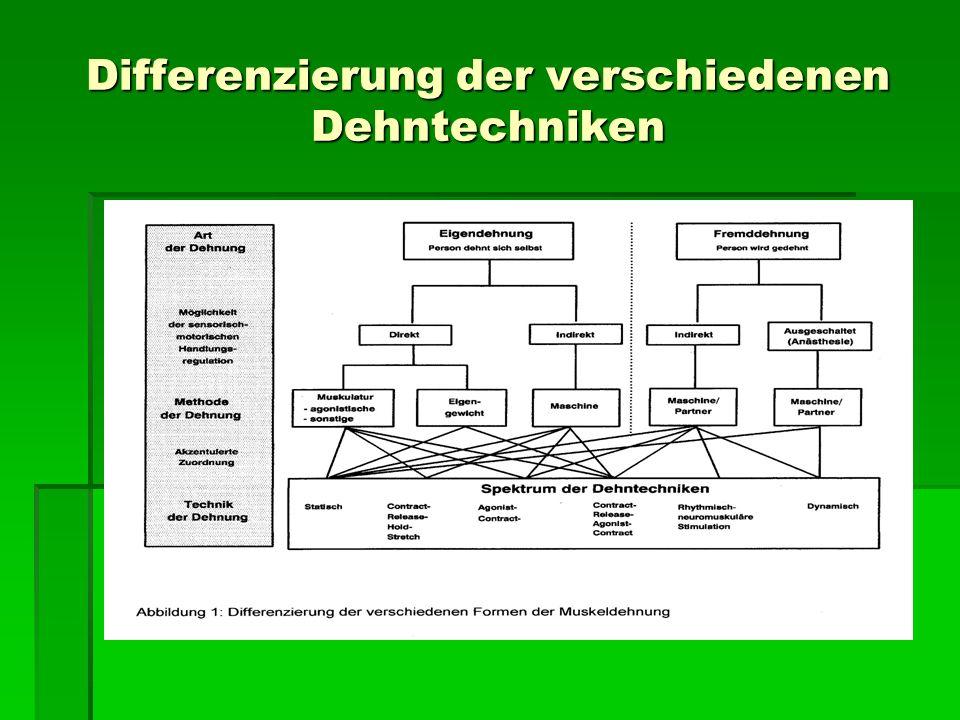 Differenzierung der verschiedenen Dehntechniken